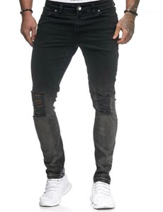 Slim Hiphop Long Mens Pencil Pants Holes Casual Teenager Jean Trousers With Zipper Designer Mens Jeans Fashion