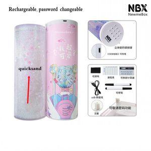 2020 blocco Newmebox Mezza Quicksand traslucido creativo MultifunctionPassword cilindrica iPen Pencil Box, titolare di cancelleria scatola della matita della penna