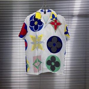 2020ss весна и лето новый высококачественный хлопок печать с коротким рукавом круглый вырез панели футболка размер: m-l-xl-xxl-xxxl цвет: черный белый xVs1