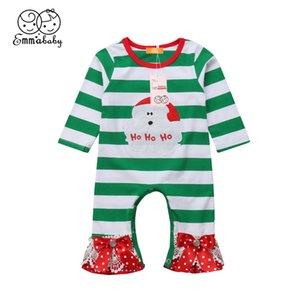 Xmas милого симпатичных малышей Kid Baby Girl Санта Клаус Печатается с длинным рукавом полосатой Lace Bow Knot Рождество Ползунки Пижама Пижама