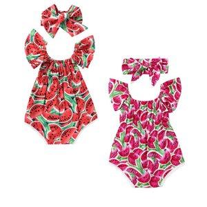 Newborn Baby Girls Bodysuit Watermelon Print Clothes Sleeveless Bodysuit +Headband 2pcs Jumpsuit Outfits Playsuit T200706