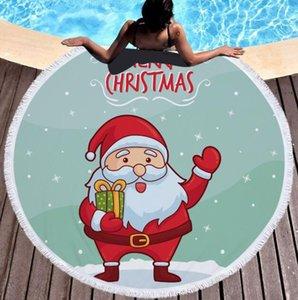 Circle Beach Towel Cartoon Christmas Round Shower Bath Towels Microfiber Xmas Yoga Mat Tapestry Blanket 150cm Tassel Home Decor