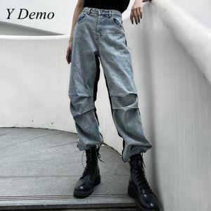 Y Demo Streetwear Grunge Jeans Casual femmes taille haute poches couleur Patchwork Denim Cargo Pants 2020