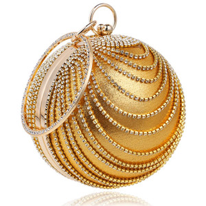 Designer- Handbag Purse Clutch Evening Bag Round Ring Woman Rhinestone Handle Ball Nsrwv