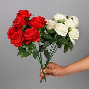 "Fake Rose (9 heads bunch) 17.72"" Length Simulation Roses for DIY Wedding Bridal Bouquet Home Decorative Artificial Flowers"