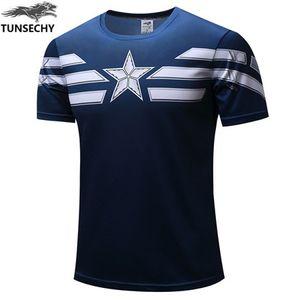 Tunschy 2019 كابتن أمريكا تي شيرت 3d مطبوعة القمصان الرجال الأعجوبة المنتقمون الرجل الحديدي الحرب لياقة الملابس الذكور قمم قمم
