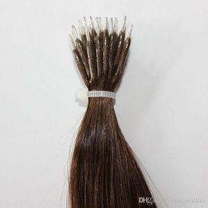 Colore 6 # castano estensioni diritto di seta 8A Nano Anello dei capelli 0.8g / s 300ST colli di fabbrica prezzi 240g Nano Hair Extension