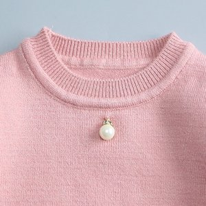 2016 new baby girls cardigan sweater autumn and winter children baby sweater flounced pearls sweater Free shipping 1-2 years