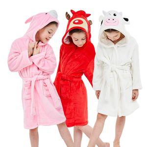 Kids Robes Bathrobe Flannel Cartoon Boys Girls Unicorn Pajamas Animal Hooded Bath Towel Baby Nightwear Children Sleepwear Robes