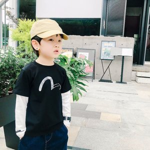 New Baby Long Sleeve T-shirt Cotton Toddler Kids Boys Tee Soft Solid black fake two pieces Shirts