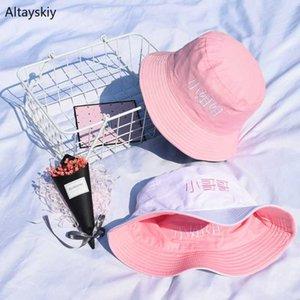 Sombreros de cubo para mujer sombreado de sol letra plana bordada sombrero de pescador estilo coreano sólido Simple niñas 2020 nuevo Chic para mujer de moda