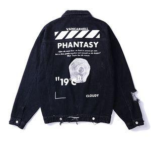 Mcikkny erkek Sıkıntılı Denim Ceketler Ripped Yüksek Sokak Boyalı Jean Ceketler Erkek Streetwear Mont Hip Hop