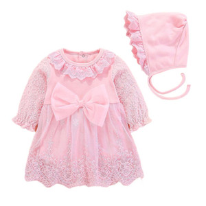 Kidlove Baby Girl Lovely Long Sleeve Bowknot Lace Romper Princess Dress + Hat Set