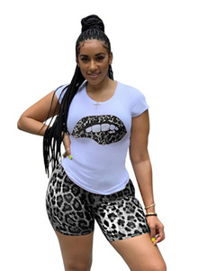 Women Tracksuit Summer Leopard Printed Panelled Lips Short Sleeve Womens 2Pcs Set Casual Sport Female Clothing
