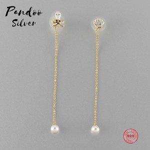PANDOO Fashion Charm Sterling Silver Original 1: 1 Copy, Pearl Long Paragraph Wild Elegant Earrings Women Luxury Jewelry Gifts