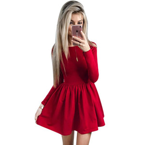 2019 Spring Dress Women Fashion Solid Red Black O-neck Elegant Sexy Club Casual Cute A-line Dress Women Dresses Vestidos