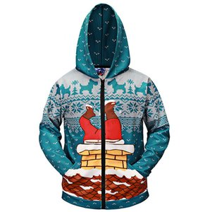 Hot sale European and American style Father ChristmasClaus climbing chimney zipper cardigan digital printing 3D sweater