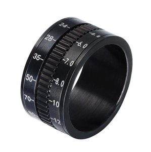 Mens Camera Rings Black Stainless Steel Camera Lens Rotating Ring Spinner Finger Rings for Men Fashion Jewelry