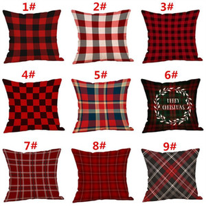 Christmas Decorations Pillow Case Plaid Elk Bear Ptinted Throw Pillow Covers Xams Cotton Linen Sofa Cushion Cover Home Party Pillowcase Best
