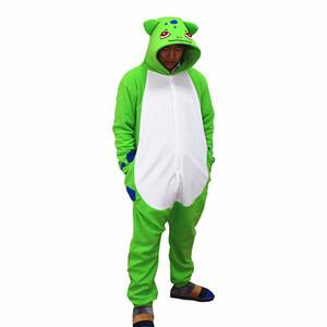 Bulbasaur Kigurumi Pocket Monster Cosplay Costume Adulto Polar Fleece Cartoon Tutina Pigiama Halloween Carnevale Masquerade Party Tuta