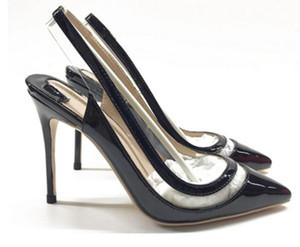 19 Sandalias de charol negras Espalda trasera Tacón fino Cúspide zapatos de tacón alto con fondo rojo para mujer vestido de novia Zapatos individuales 10 cm talla grande 44