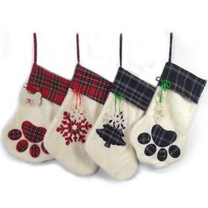 Colgante de la Navidad Medias Calcetines pata del oso del copo de nieve del árbol de Navidad Adornos Calcetines Decoración de Navidad la decoración del hogar XHCFYZ12