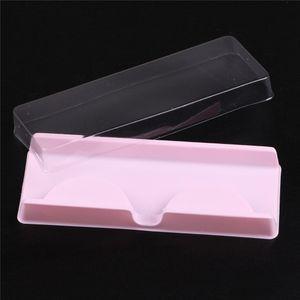Упаковка коробки для ресниц заготовки ресницы пластиковой упаковки прозрачной крышка розового Полного Strip Lashes Box 100 комплектов / много