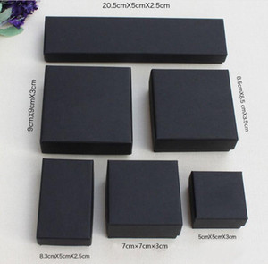 XS Hohe Archiv Schwarz Kraft Schmuck Verpackung Armband-Halsketten-Ring-Ohr-Nagel-Box Weihnachten Neujahr Geschenk anpassen 6 Größe