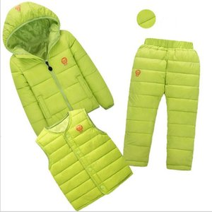 2019 New Winter Warm Down Boys Girl's Clothing Sets Girl Ski Suits Children's Outdoor Clothes Coats Jackets+Vest+Trousers 3pcs