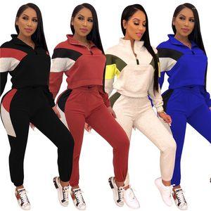 2 pantaloni piece L'autunno casuale Panelled Slim Maniche lunghe Abiti collare del basamento di sport modo delle donne Tute da donna Tute Designer
