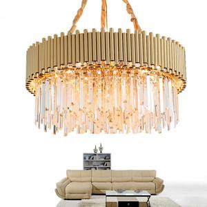 Modern lustre de cristal levou para sala de estar de ouro lustres de cozinha quarto de luxo da cadeia rodada luminárias