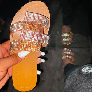 Women Slippers Shiny Rhinestone Patchwork Flat Heel Peep Toe Summer Fashion Slides Outdoor Ladies Shoes Zapatos De Mujer