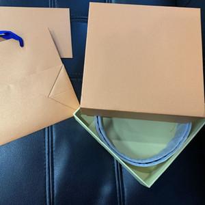 Piel de compras del regalo del papel INICIALES 40MM 30MM CORREA REVERSIBLE Bolsa Bolsa para polvo caja hebilla lona de los hombres Correas del diseñador de moda de las mujeres de la correa