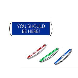 Два цвета вы должны быть здесь 24x70cm ПЭТ Материал ручного скроллинг Held Banner / Pop Up Баннер / Выдвижной Баннер Односторонний Печати