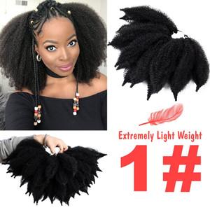 8 '' Uncinetto Marley Treids Capelli neri morbidi Afro Twist Twist Sintetico Treccia A Treccia Capelli Azzurra Fibra ad alta temperatura per donna