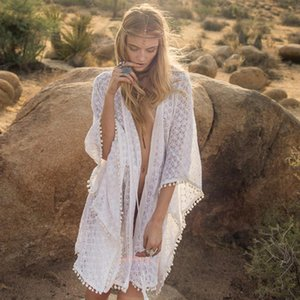 Women Cardigan Beach Dress Pom Pom Trim Chiffon Bikini Cover Up Perspective Patchwork Tunic Beachwear Swimsuit Solid Beach Pareo