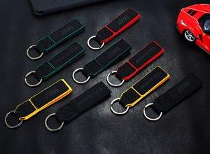 M Power Rojo Azul Negro de coches AMG de cuero de lujo de la cadena dominante anillos titular de la clave llave del coche de PP paquete del bolso