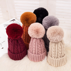 Beanie Cappello Con rimovibile sfera sveglia esterna invernale lavorato a maglia Caps Donne Bambine elastico Formato libero 6 colori calda inverno VT0514