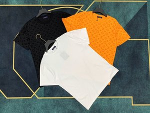 20ss camiseta italiana Primavera Verano nueva alta moda París flocado impresión de tela para mujer para hombre tops de algodón de alta calidad polo camiseta