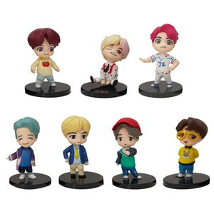 7PCS set Bangtan Boy Groups Model Toys KPOP Star TOP Group A.R.M.Y Gift PVCKeychain Action Figures Toy Keyring Kid Gift Birthday T200704
