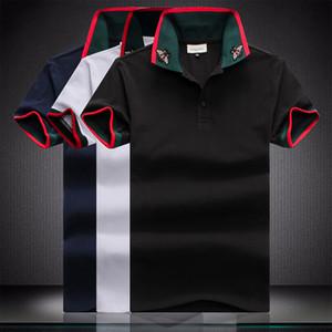 UK Moda Verão Homens London Sólidos Fred Polo Collar Folha Bordados Striped Inglaterra design casual Polos de algodão T-shirt Perry clássico