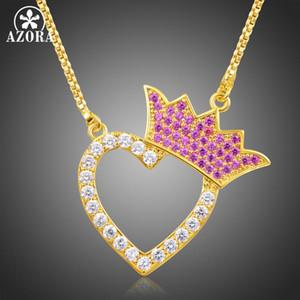 Collar del corazón circonio cúbico de la corona del color rojo AZORA nuevo diseño de oro para el regalo del día de San Valentín del amor TN0254