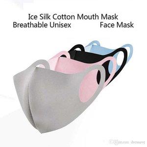 500pcs toz geçirmez Yumuşak Nefes Yüz Maskesi Buz İpek Pamuk Yaz Karşıtı Haze Toz Yıkanabilir Yeniden kullanılabilir earloop Ağız Maskeleri Bireysel Paketi