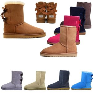 2020 Winter Outdoor Shoes WGG Bailey Bow-knot Australia Classic tall half Boots Tan chestnut Grey Womens Kids Fur Snow Boots Designer Shoe