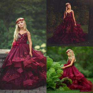 2020 Dark Red Lace Borgonha Meninas Pageant Vestido hierárquico Saias Tulle Appliqued uma menina de flor Linha Vestidos Beading Primeira Comunhão Vestido