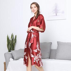 Womens Long Bridesmaid Bride Dress Robe Abiti stampati Camicia da notte Sleepwear Pigiama di seta Sexy Home Wear Plus Size M-XXXL Spedizione gratuita