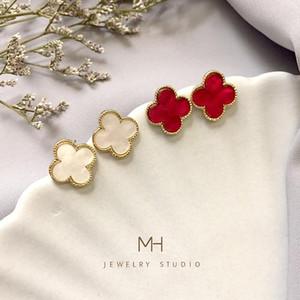 ot lüks tasarımcı Paslanmaz çelik doğal kabuk akik dört yapraklı çiçek tek moda kulak Çıtçıt 18K altın kadın jewelr471e için # küpe damızlık