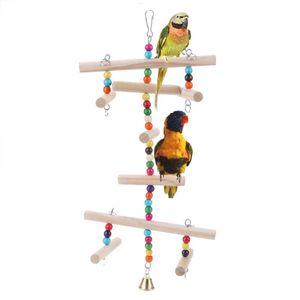 Birdcage de madera para Mascotas loro juguetes colgantes Hamaca que roe el columpio juguetes para Parakeet de Budgie del pájaro del juguete