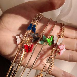 Femmes papillon Colliers d'or de luxe Choker GLACÉ Chaînes avec Fashion Pendentif animal CZ strass Bling Hip Hop Bijoux pour les filles cadeau