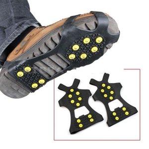 1 쌍 (10) 스터드 미끄럼 방지 스파이크 신발 눈 얼음 등반 신발 스파이크 그립 스테이플 클리트 스테이플 스파이크 신발 쇠 갈고리 4 개 크기